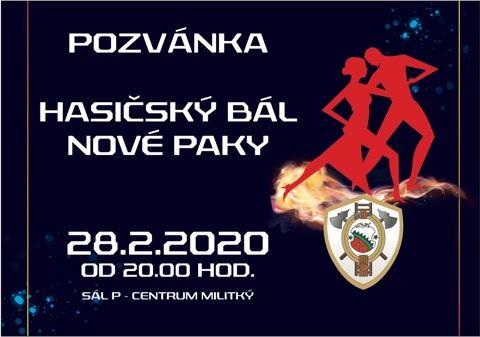 Pozvánka na hasičský bál Nové Paky, který se koná 28.8.2020 v P-Centrum Militký