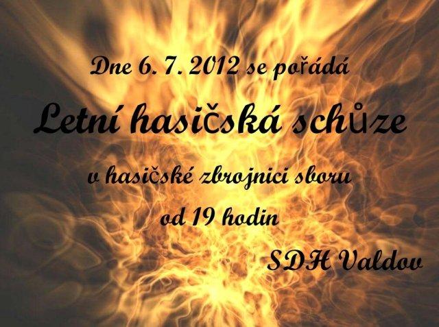 Pozvánka na letní schůzi členů SDH Valdov