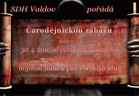 Pozvánka na čarodějnickou zábavu ve Valdově