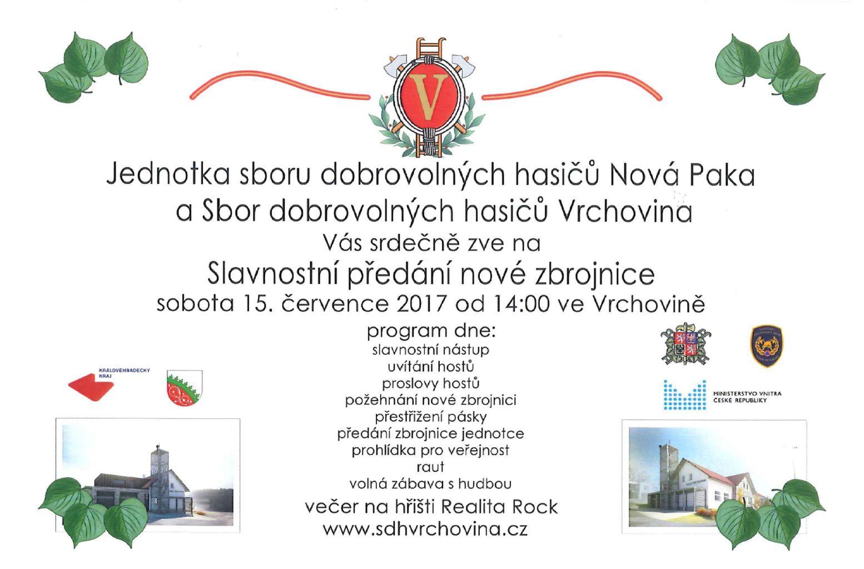 Pozvánka na otevření nově zrekonstruované hasičské zbrojnice ve Vrchovině