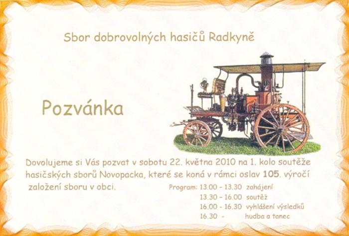 Pozvánka SDH Radkyně na okrskovou soutěž.