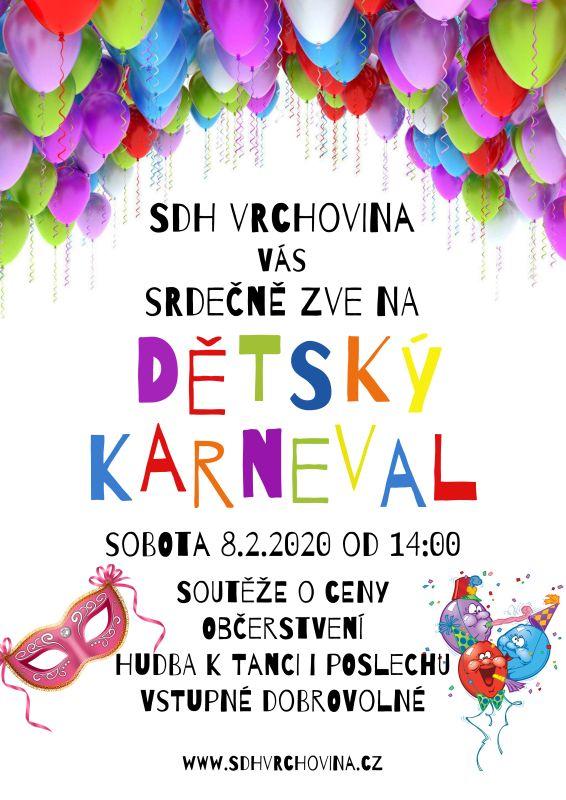 Pozvánka na dětský karneval do Vrchoviny, který se koná 8.2.2020