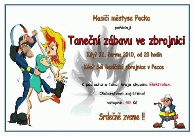 Pozvánka na taneční zábavu pořádanou SDH Pecka